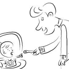 Dad Feeding Larger