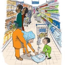 Arif goes shopping, shopping isle