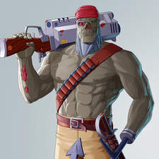 A zombie pirate sci-fi character