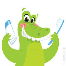 Crocodile Washing Teeth