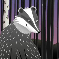 Badger Forest Scene