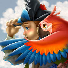 Young Pirate And Parrot