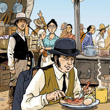 Color illustration for comic strip about the gold rush