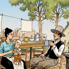 Color illustration for comic strip about the gold rush.