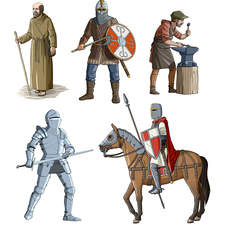 Various people from the medieval age