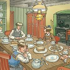 Farmhouse kitchen lit by an overhead oil lamp. three children and an old man seated at the table while a young woman brings in a pot of food. Iron cooking range glows against the wall.