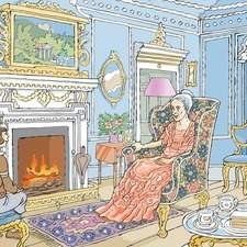 A palatial Georgian sitting room with an elderly lady talking to a young girl in front of a roaring fire.