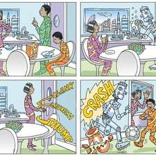 4 graphic panels showing a futuristic African family being served dinner by a robot, futuristic cityscape outside window.