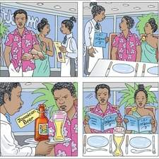 Graphic panels of African couple entering a restaurant and ofrdering food. Man is being rude to waiter.