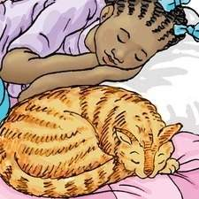 Afro-Caribbean girl asleep on a duvet with her cat also asleep beside her.