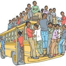 Badly overloaded bus with lots of African boys hanging on to the outside, conductor waving.