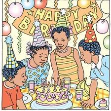 4 Afro-Caribbean children at a birthday party blowing out candles on a birthday cake.