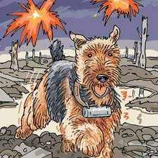 Desolate World War One battlefield, explosions, water filled craters, buned out trees, courier dog, airedale.