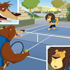 lion, bear, tennis