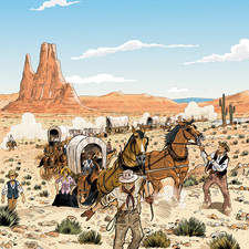 Color illustration for school book about wild west