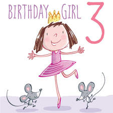 Greeting card, birthday, for 3 year old girl.