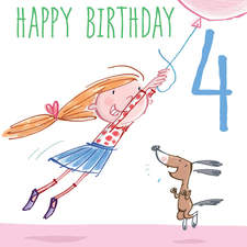 Greeting card, birthday, for a 4 year old girl.