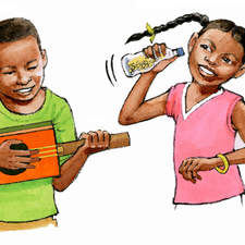 Caribbean children with home made instruments