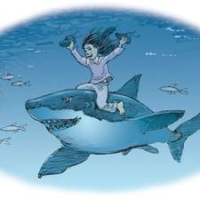 Chinese girl riding a shark underwater waving her shoes.