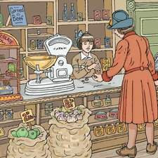 1940s grocery shop. Counter has old fashioned scales, cash register, display cases, sacks of produce in front. Young girl serving. 1940s housewife examining change.
