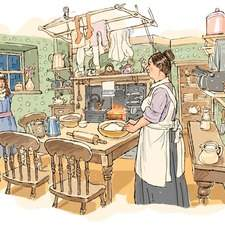 Edwardian child in large Edwardian kitchen talking to a female cook. Clothes are drying on a pulley rack over a coal fired stove. Edwardian table and chairs. Cook making bread.