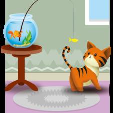 Kitty fishing card design