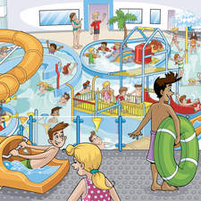 Waterpark advertising illustration - Kirklees Council