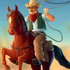 A cowboy throwing a lasso