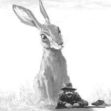 Giant Hare and Hunter