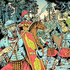 Germanic warriors ambushing a Roman legion