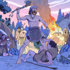 Prehistoric warriors ambushing a settlement