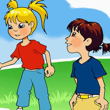 Cartoon, girls, play, yo yo