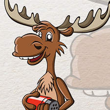 A funny reindeer mascot for a travel agency.