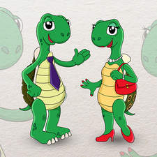 A tortoise couple mascot for a travel agency.
