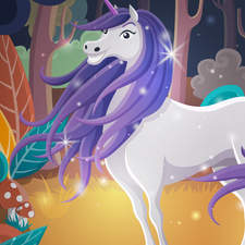 The magic unicorn in the woods.