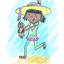 Young 8 year old Indian girl running with her doll to an adventure. Picture for Story book for publishing company.