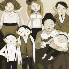old family photo for an educational book.