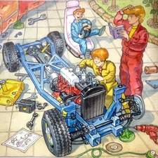 Two children building a car. Technically correct stripped away car chassis and engine.