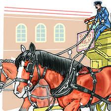 Horse drawn omnibus. Drawn by two heavy horses.