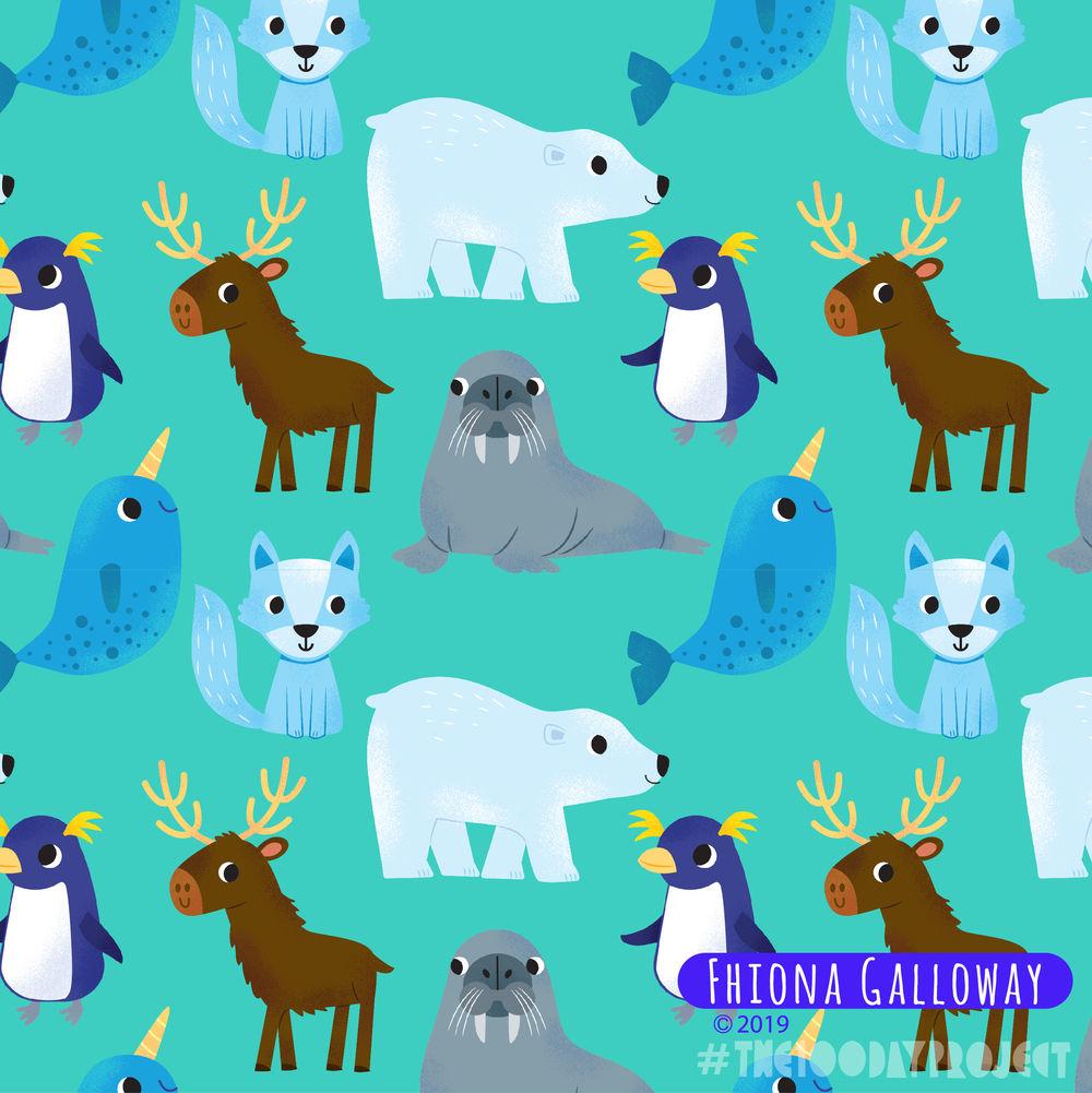 Winter animals pattern