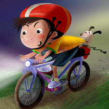 Boy riding his bike with his frightened dog.