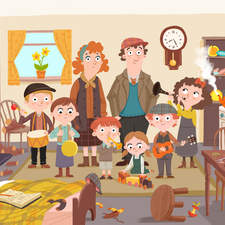 Crowded House, Illustration for English Language Teaching Publication.