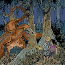 Color illustration for youth novel about dinosaurs