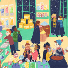 Honeydukes sweet shop - an illustration from a personal project