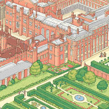 Hampton Court Palace. Double page spread Illustration from a lift the flap book on famous palaces.