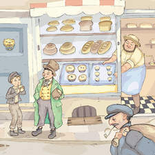 Oliver meets The Artful Dodger. Illustration from Oliver Twist.
