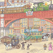 Industrial Britain. Illustration showing the developments and inventions of Britain during Victorian times.