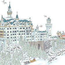 Neushuwanstein Castle. Illustration from a book on famous palaces around the world.