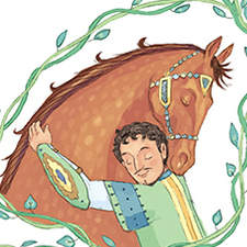 'The Tale of Rakush.' Spread illustration for a horse and pony treasury.
