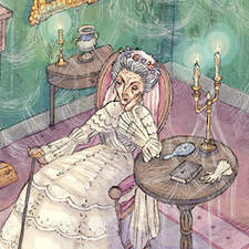 Miss Havisham. Double page illustration from an adaptation of Great Expectations by Charles Dickens.